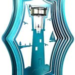 Stainless-Steel-Solar-Light-Lighthouse-16-Inch-Wind-Spinner-Teal-0