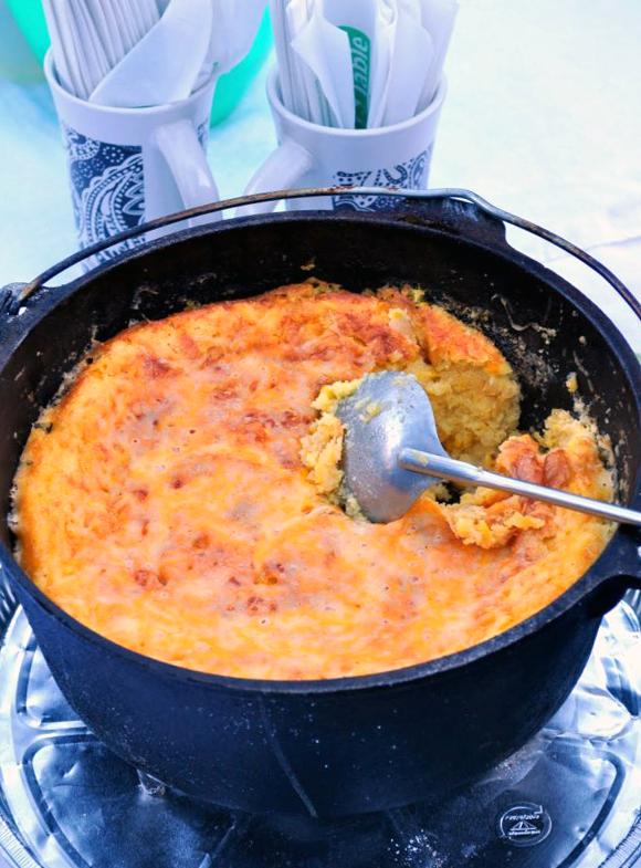 Dutch Oven Corn Casserole | farmgirlgourmet.com #glamping #camping