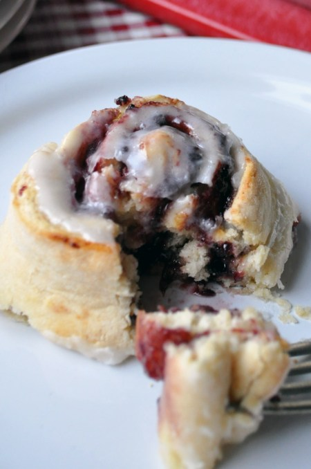 Mixed Berry Jam Scrolls with Orange Fondant Glaze