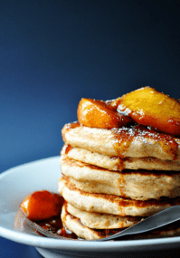 Whole Wheat-Applesauce Pancakes with Fresh Peach Compote | farmgirlgourmet.com