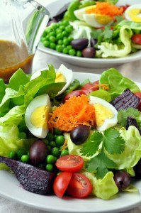 Butterhead Salad with Olives, Spring Peas and Roasted Beets with Spicy Olive Vinaigrette