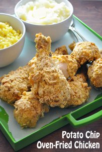 Potato Chip Oven Fried Chicken | farmgirlgourmet.com