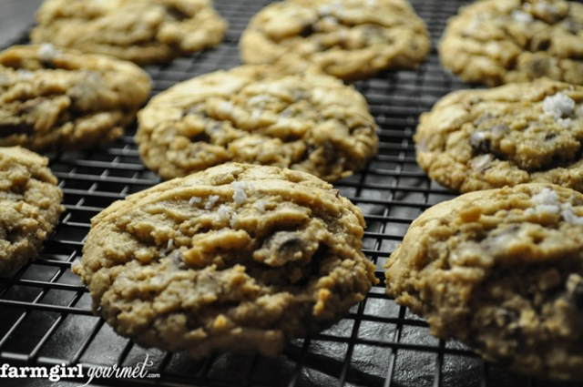 Sea Salted Toffee Chocolate Chip Cookies