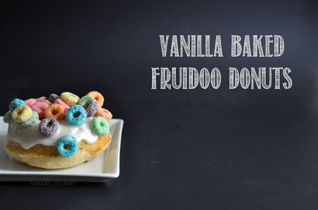 Vanilla Baked Fruidoo Donuts | farmgirlgourmet.com #doughnutweek