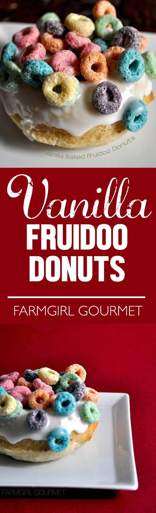 Vanilla Baked Fruidoo Donuts recipe | farmgirlgourmet.com