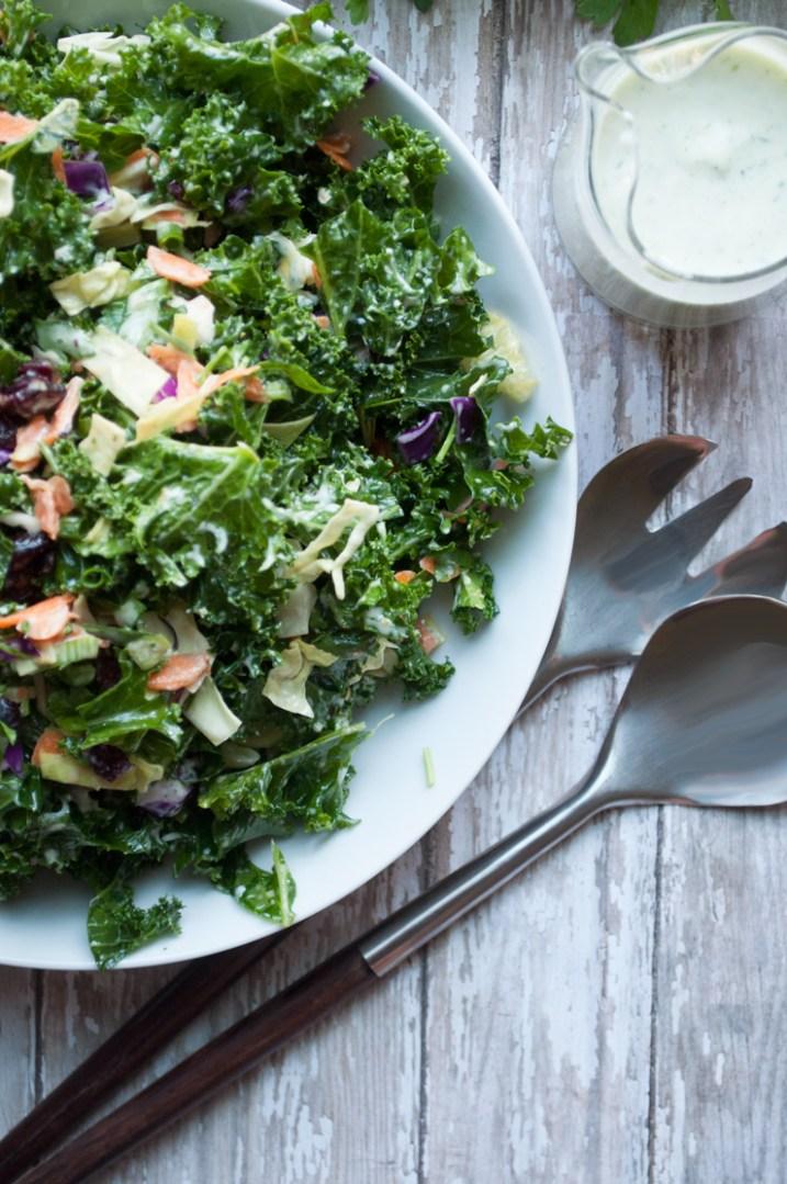 Kale Chopped Salad with Garlic Tarragon Dressing   farmgirlgourmet.com