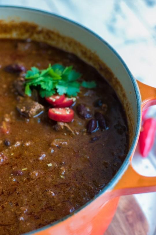 Meaty 4 Bean Chili Recipe | farmgirlgourmet.com