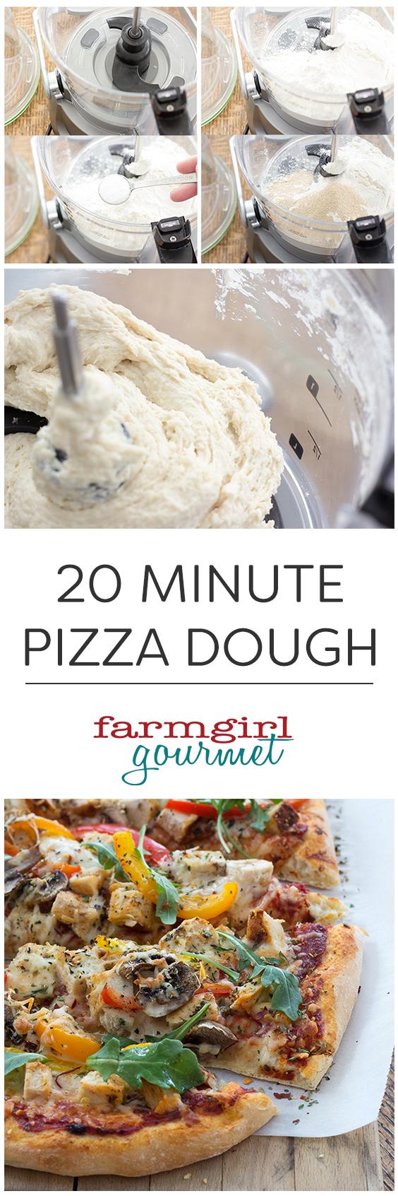 Easy 20 Minutes Pizza Dough Recipe | farmgirlgourmet.com