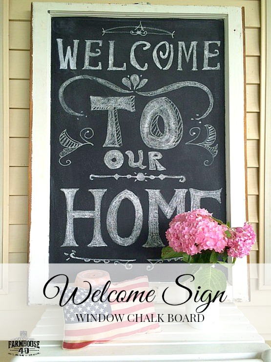 Window Chalk Board Welcome Sign farmhouse40.com
