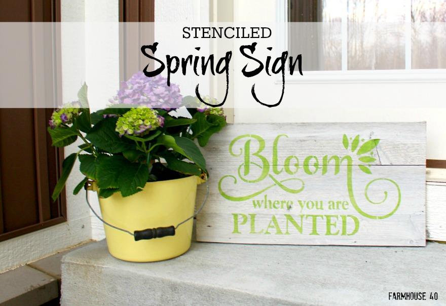 spring stencil sign