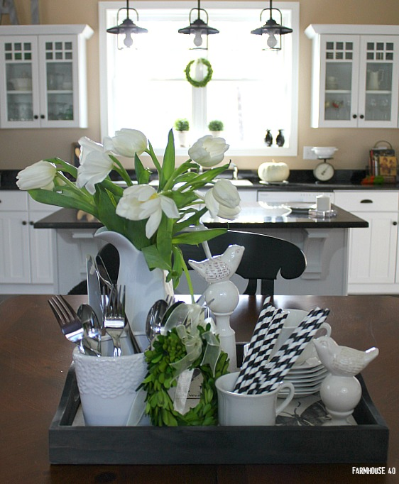 Table Vignette In Black And White. Classic, Clean Look