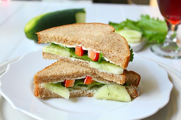 Stacked cucumber sandwich