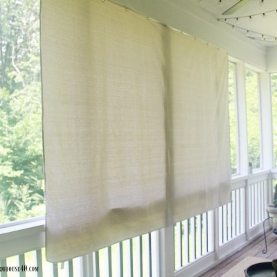 Beat the Heat: DIY Grommet Drop Cloth Porch Shade