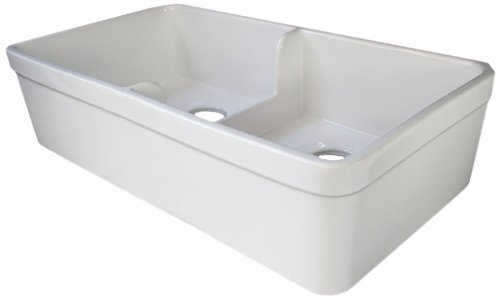 alfi brand ab5123 32inch short wall double bowl fireclay farmhouse kitchen sink with 1