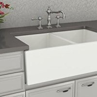 Farmhouse Kitchen Sink White - Double Bowl Fireclay with Apron Front - Undermount or Overmount Design - Smooth - 33 Inches