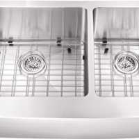"""0263AP 36""""x20""""x10"""" 60/40 Farmhouse Apron Front Farm House 16 Gauge Double Bowl Stainless Steel Sink INCLUDES Grid Set and Strainers"""