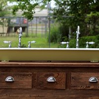 "Refinished Industrial 48"" Vintage Inspired Trough Sink Cast Iron Churlish Green Vessel Bath Sink"