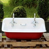 "36"" Antique Inspired Kohler Farm Sink Incarnadine Red Cast Iron Porcelain Trough Sink Package"