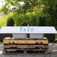 "Large 66"" Refinished 1950 Farm Sink Cast Iron Double Drainboard Porcelain Double Basin Kitchen Sink Package"