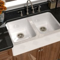 "Song S-8840-4U-70 Serenade 33"" x 22"" x 9"" Cast Iron Double Bowl Farmhouse Apron Sink, White"