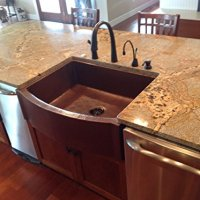 """33"""" Rounded Front Flat Ends Copper Farmhouse Sink"""