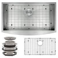 """Perfetto Kitchen and Bath 30"""" Handmade Apron Undermount Single Bowl 16 Gauge Stainless Steel Kitchen Sink with Drain and Dish Grid"""