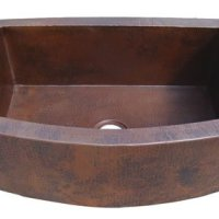 Ariellina Farmhouse 14 Gauge Hammered Copper Kitchen Sink