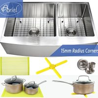 Ariel 36 Inch Farmhouse Apron Front Stainless Steel Kitchen Sink Package - 16 Gauge Curved Front Double Bowl Basin - Complete Sink Pack + Bonus Kitchen Accessories - Ideal For Home Improvement