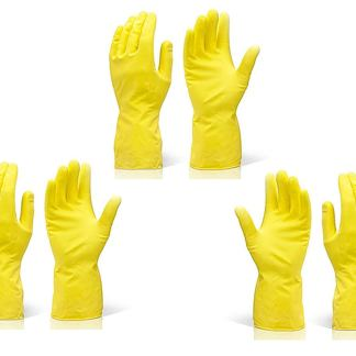 Rubber Hand Gloves Reusable Washing Cleaning Kitchen Garden (Color May Vary) (3 Pairs) by DeoDap