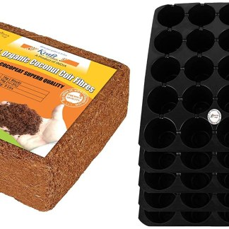 Kraft Seeds Agropeat/Cocopeat (1 KG) and Seedling Tray (Pack of 5) Combo