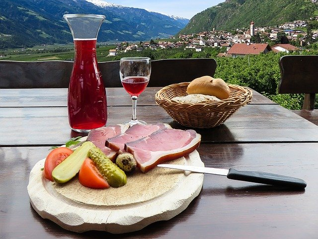Alpine Food at an agriturismo in South Tyrol, Italy.