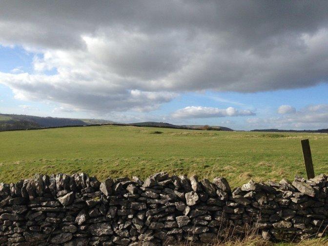 Stone wall and Farm in Derbyshire, U.K.
