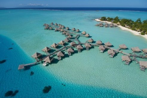 Overwater bungalows at InterContinental Le Moana, Bora Bora.