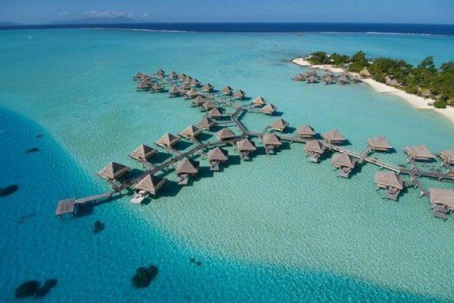 Overwater bungalows at InterContinental Le Moana, Bora Bora.