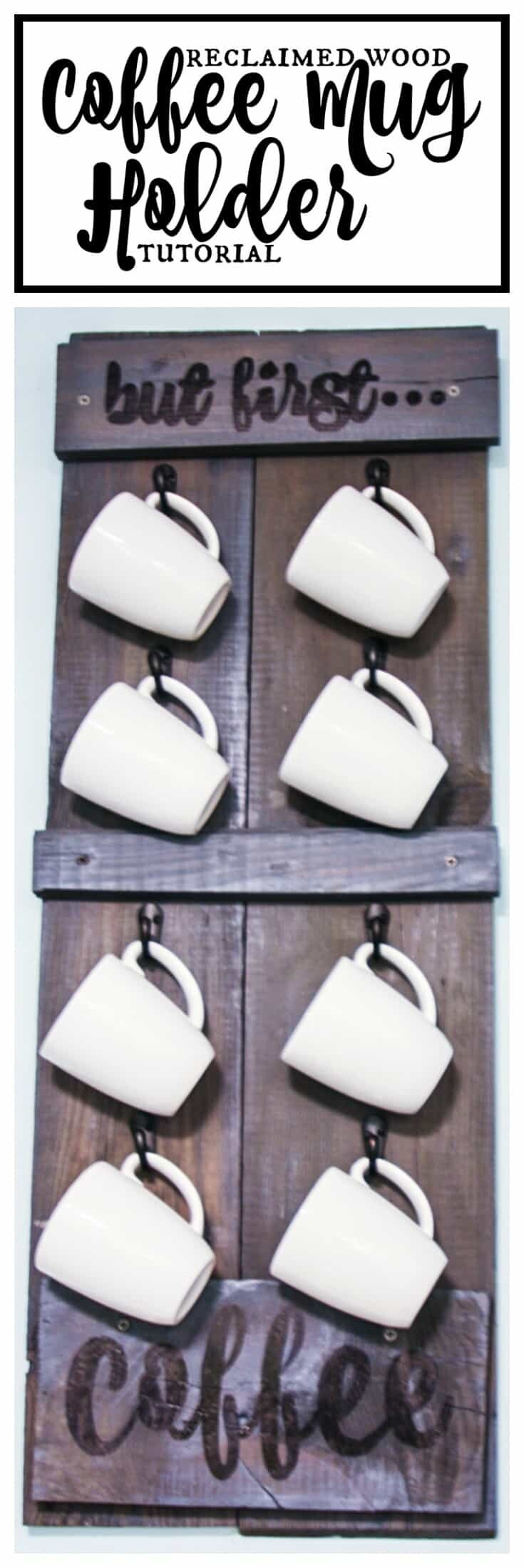 Reclaimed Wood Shutter Coffee Mug Holder Tutorial - Rustic, Vintage farmhouse chic with a touch of fun
