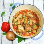 This Paleo & Whole30 chicken cacciatore recipe is a quick, simple, one-pot wonder, tasting divine with chicken cooked to perfection amid wonderfully savory veggies.