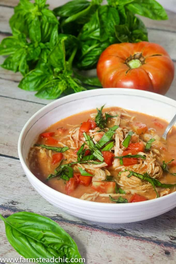 Take just 10 minutes to prep this Paleo & Whole30 Creamy Chicken Tomato Soup, and let your slow cooker do the rest! It's the perfect cold weather busy weeknight meal.