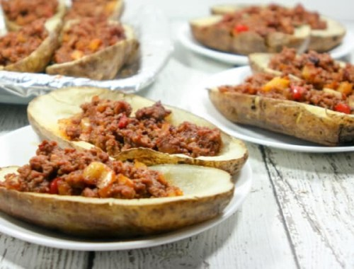 """With the sweet + spicy Sloppy Joes offsetting the salty + crispy but yet """"buttery"""" potato skins, these Whole30 Potato Skins = an explosion of flavor! You won't believe they are Whole30-compliant!"""