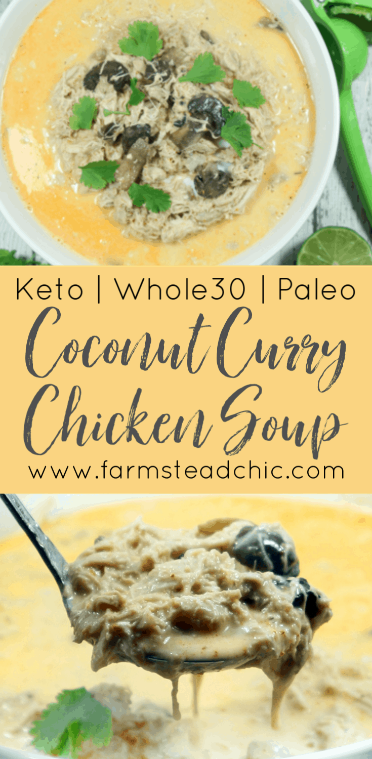 Coconut Curry Chicken Soup Pinterest Graphic