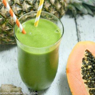 Pineapple Papaya Green Smoothie