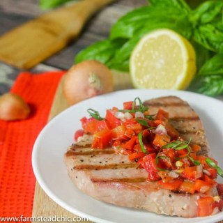Paleo and Whole30 Grilled Ahi Tuna with Roasted Red Pepper Relish