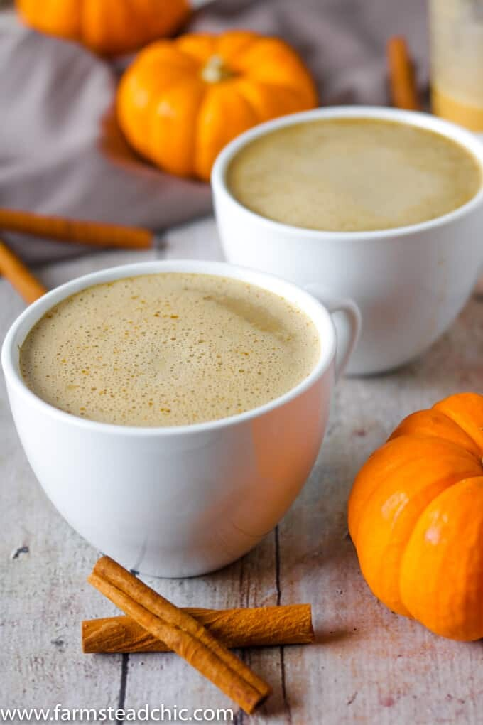 This Paleo and Whole30 Pumpkin Spice Latte needs just four ingredients and an inexpensive milk frother. In less than ten minutes, you'll have a healthy, dairy-free cup full of autumn right in your hands. If you don't have a milk frother, a blender will do just fine.