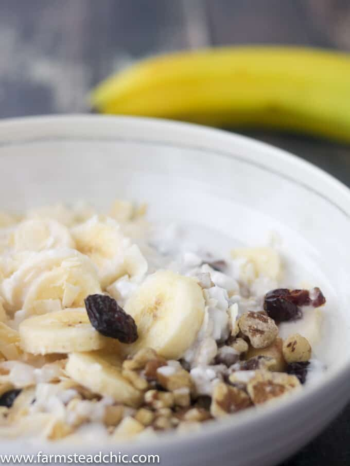 With bananas, walnuts and cranberries with a sprinkling ofcinnamon, these Paleo Breakfast Bowls are cool, creamy, crunchy, grain-free, gluten-free, dairy-free just plain delicious. . Craving a bowl of cereal? You need these! (Whole30 Compliant Ingredients) Vegetarian and Vegan + full of protein and healthy fats.