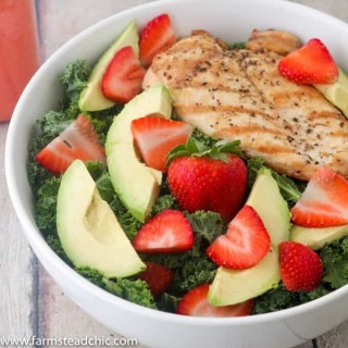 Paleo and Whole30 Strawberry Avocado Kale Salad