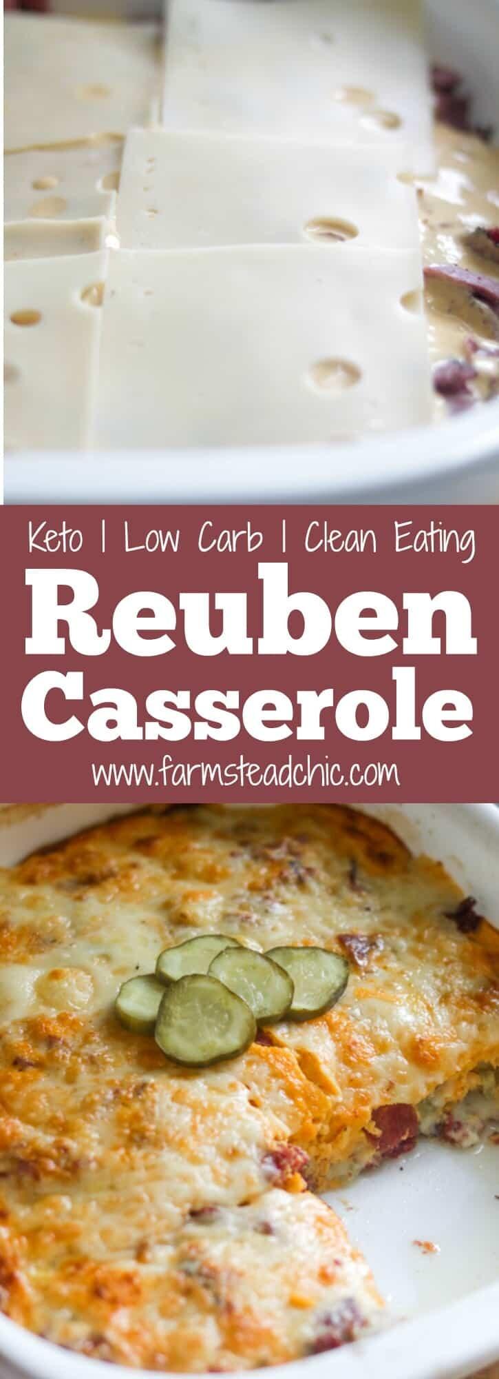 Low Carb, Keto Reuben Casserole Pinterest Graphic