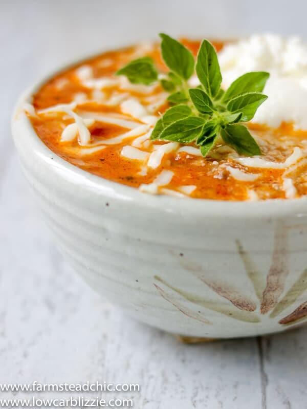Low Carb, Keto Lasagna Soup, Gluten free, grain free lasagna