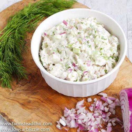 This Low Carb,Keto Leftover Turkey Salad made with mayonnaise, dijon mustard, red onion, celery and dill is a super easy, tasty way to use your holiday turkey leftovers and makes a creamy, crunchy, convenient lunch that requires no cooking.| www.farmsteadchic.com #leftoverturkey #ketoturkeysalad #lowcarbturkeysalad #leftoverturkeysalad #turkeysalad #farmsmteadchic