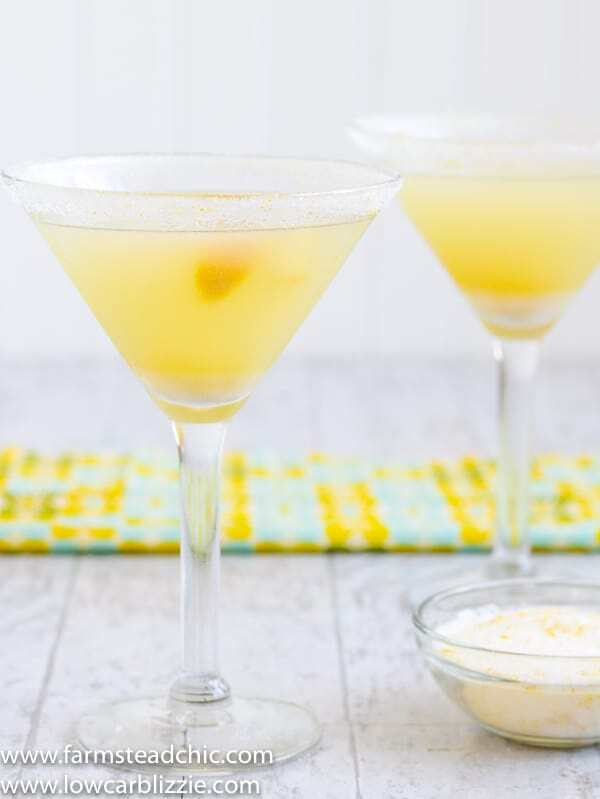Low Carb, Keto Lemon Drop Martini - Only 2 net carbs! Lift your winterspirits with this Low Carb, Keto Lemon Drop Martini!Citrus fruits areaplenty this time of year, and a powdered monk fruit blendreplaces thetraditionalsimple syrup, netting a whole heck of a lot fewer carbs than your traditional lemon drop martini with just a few simple ingredients. #farmsteadchic #ketomartini #lowcarbmartini #ketolemondrop #lowcarblemondrop #lemondrop #lemondropmartini #ketococktail #lowcarbcocktail #nosugarcocktail