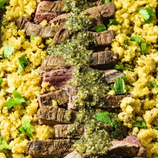 Paleo Flank Steak Fajitas with Plantain Rice and Chimichurri Sauce