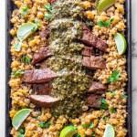 Paleo Flank Steak Fajitas with Plantain Rice and Chimichurri Sauce